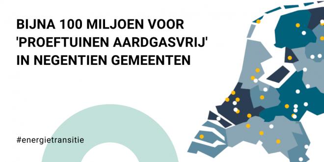 Bijna 100 miljoen euro voor 'proeftuinen aardgasvrij' in 19 gemeenten